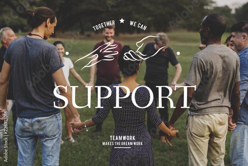 Fotomural  Partnership Team Support Togetherness Cooperation Hands Graphic