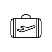 Suitcase Isolated Minimal Single Flat Linear Icon For Application And Info-graphic. Travel Line Vector Icon For Websites And Mobile Minimalistic Flat Design.