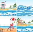 Set of summer beach background