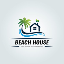 Beach House Logo Design Templa...