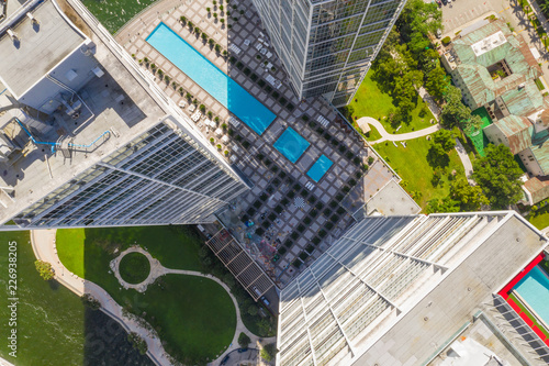 Obraz Aerial overhead photo of building construction Miami Brickell - fototapety do salonu