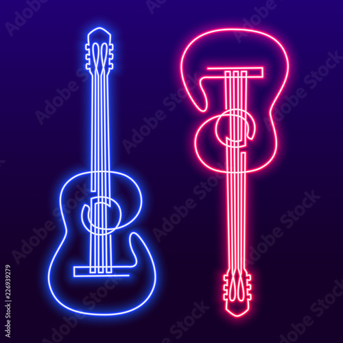 Obraz Neon pink blue light lamp continuous line drawing of acoustic guitar vector. Musical instrument single line for decoration, design, invitation jazz festival, music shop - fototapety do salonu