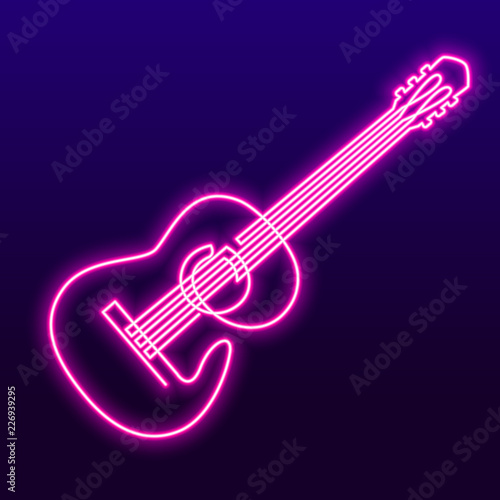 Plakaty atrybuty muzyczne  neon-pink-light-lamp-continuous-line-drawing-of-acoustic-guitar-vector-musical-instrument-single-line-for-decoration-design-invitation-jazz-festival-music-shop