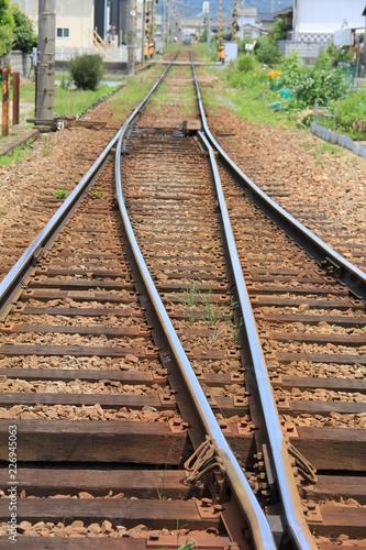 In de dag Spoorlijn 複線が単線になる部分の線路(香川県)