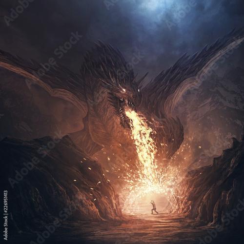 Fotografie, Tablou  Dragon breathing fire