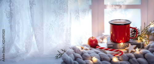 Canvas Prints Tea winter holiday window decoration
