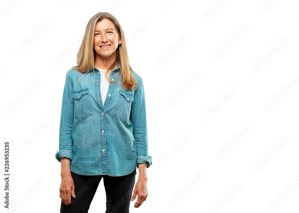 Fotografie, Obraz  senior beautiful woman with a satisfied and happy look on her face, smiling sincerely an affectionate smile