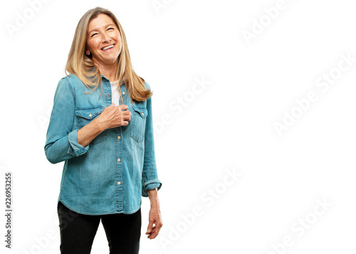 Fotografie, Obraz  senior beautiful woman Laughing out loud with head tilted backwards and happy, c