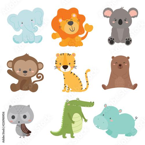 Poster de jardin Zoo set of cute animal wildlife vector