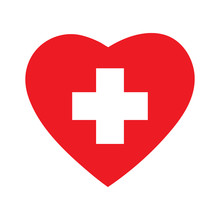 Heart Icon With Cross Symbol.