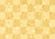 ゴールド格子和紙背景