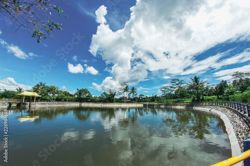 Foto op Aluminium Nachtblauw panoramic view of the lake under the blue sky