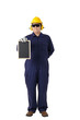 Full body portrait of a worker in Mechanic Jumpsuit isolated on white background