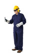 portrait of a worker in Mechanic Jumpsuit is holding a wrench isolated on white background