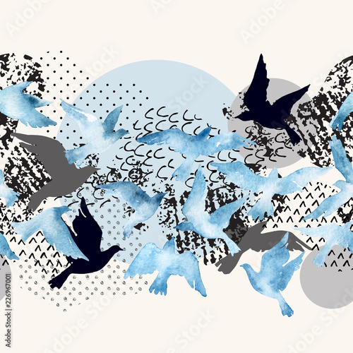 Photo sur Toile Empreintes Graphiques Artistic watercolor background: flying bird silhouettes, fluid shapes filled with minimal, grunge, doodle textures.