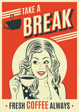 Advertising Coffee Retro Poster With Pop Art Woman