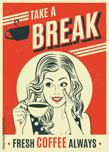 advertising coffee retro poster with pop art woman Fototapete