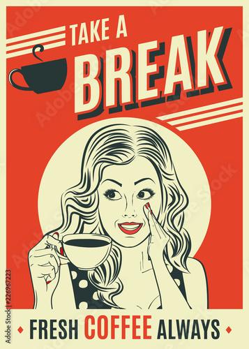 reklama kawy plakat retro z kobietą pop-artu