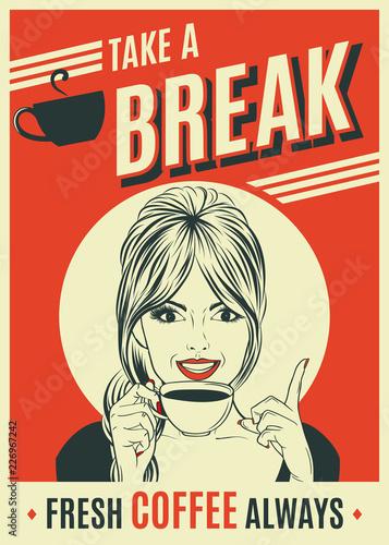 advertising coffee retro poster with pop art woman © Claudia Balasoiu