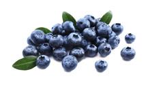 Ripe Blueberries On White Back...