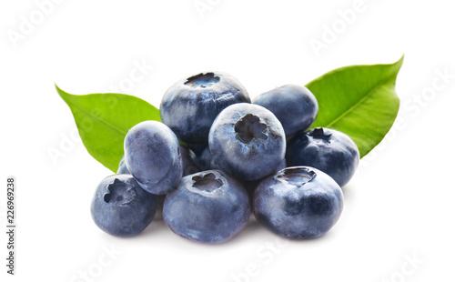 Fotografija Ripe blueberries on white background