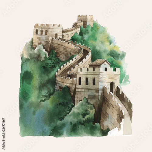 Fototapeta  The Great Wall of China painted by watercolor