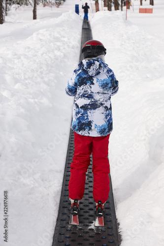Fotobehang Wintersporten Children starting to learn how to ski. Winter sport