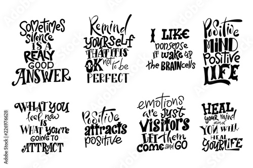 In de dag Positive Typography Vector lettering. Meditatin motivation quotes. Hand drawn calligraphic design