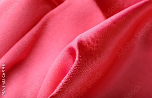 Fotobehang Stof Texture of bright pink fabric, closeup