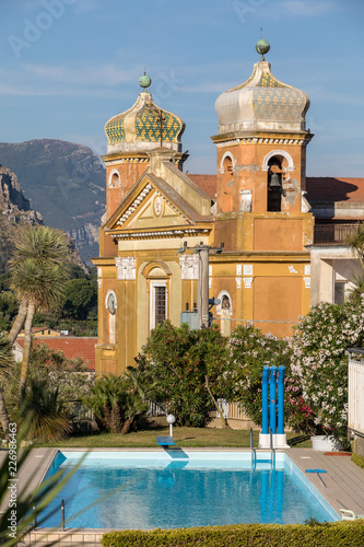 Fotografía  The purity of body and soul - Swimming pool and Church in Sant'Agnello near Sorrento on Amalfi Coast