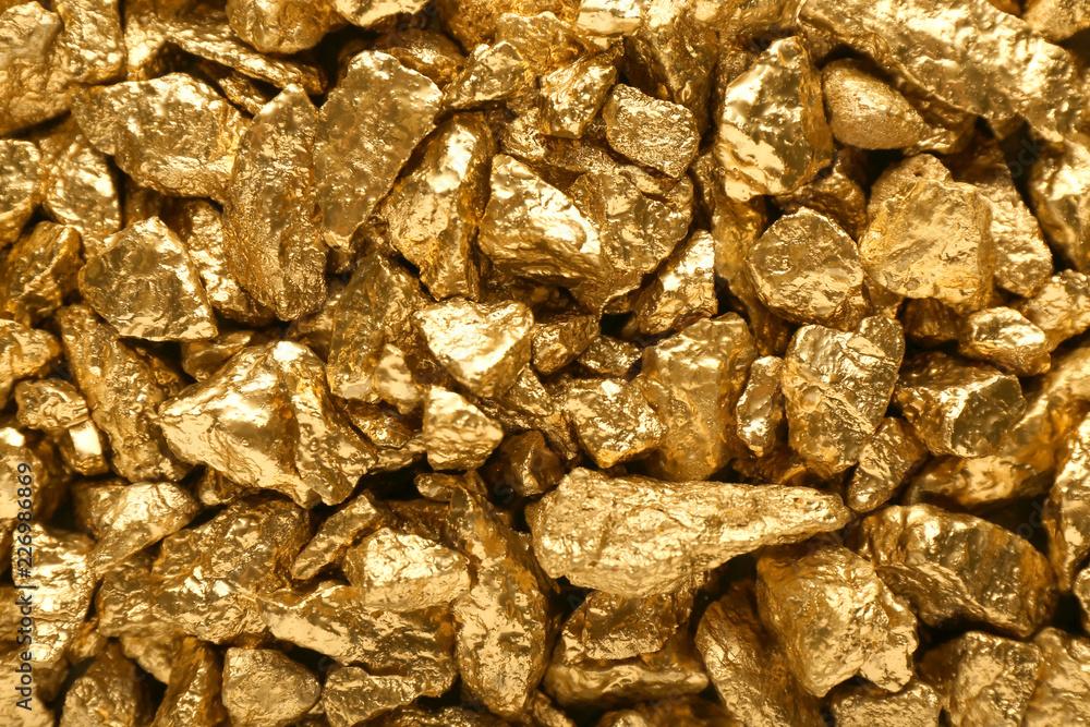 Fototapeta Many gold nuggets as background