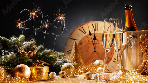 Fotografie, Obraz  New Years Eve 2019 party background