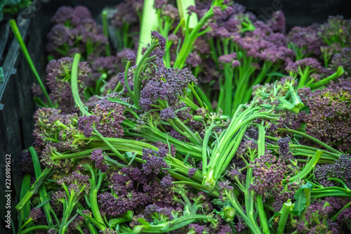 Fresh purple sprouting broccoli on display at Broadway Market in Hackney, East London