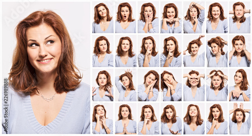 Fotografie, Tablou  Young woman, emotions, face, collage
