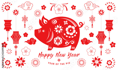 Fotografía  Happy Chinese new year 2019, the year of pig