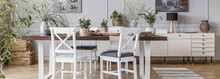 Panorama Of White Chairs At Wooden Table In Dining Room Interior With Cupboard And Flowers. Real Photo