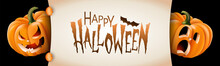 Halloween Banner With Funny Scene Between Festive Carved Pumpkins And Happy Halloween Text Message. Vector Illustration