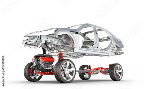 Fotografía  Body and suspension of the car with wheel and engine Undercarriage with bodycar