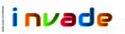 Invade - modern multicolor text on white background Canvas-taulu
