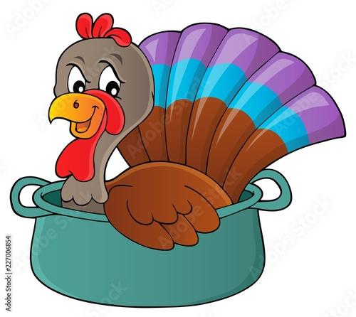 Fotobehang Voor kinderen Turkey bird in pan theme image 1