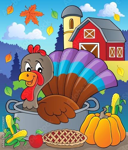 Fotobehang Voor kinderen Turkey bird in pan theme image 2