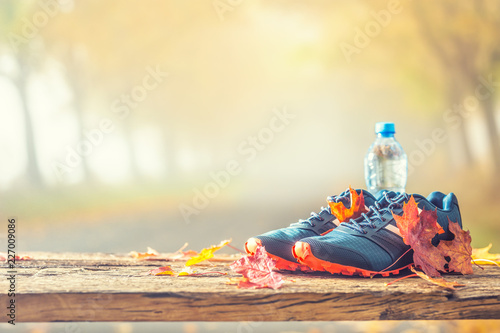 Fototapeta Blue sport shoes and water laid on a wooden board. obraz