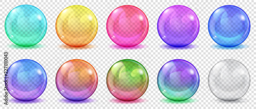 Fényképezés Set of translucent colored spheres with glares and shadows on transparent background