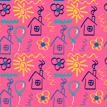 Hand-drawn Seamless Pattern In Children`s Style. Vector Doodle Texture With Houses, Flowers, Balloons, Suns. Cute Children's Illustration