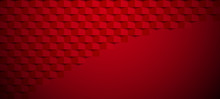 Red Abstract Geometric Textured Paper Banner.