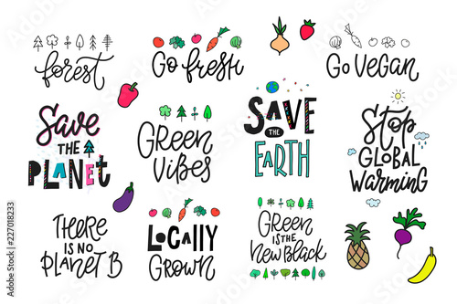 Save the Planet Earth vegan print quote lettering
