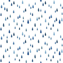 Watercolor Messy Blue Raindrops. Seamless Pattern On White Background.