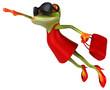 Fun woman frog - 3D Illustration
