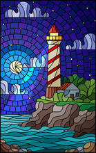 Illustration In Stained Glass Style With A Lighthouse On The Background Of The Sea, Starry Sky And Moon