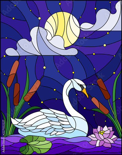 Fototapeta premium Illustration in stained glass style with Swan , Lotus flowers and reeds on a pond in the moon, starry sky and clouds